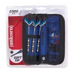 Unicorn - Set 3 freccette con punta in plastica, custodia deluxe e accessori E500