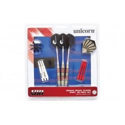 Unicorn - Set 3 freccette con punta in metallo, custodia deluxe e accessori STEEL500