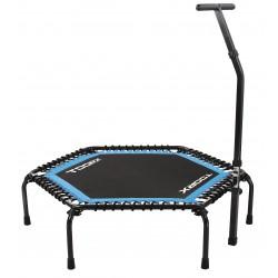 Toorx - Trampolino esagonale nero-azzurro/nero fucsia con asta di sostegno ad altezza regolabile