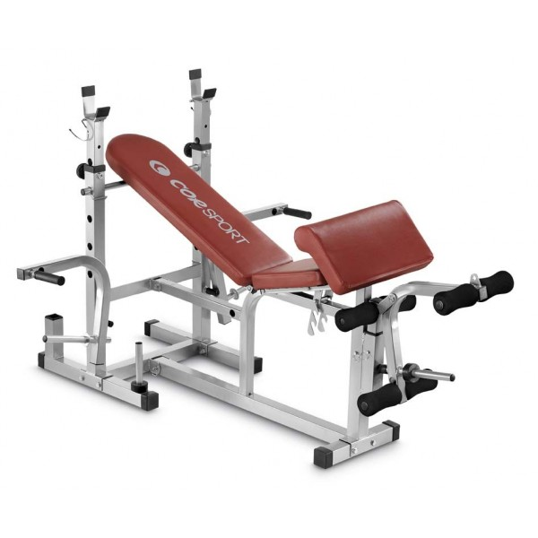 Corsport - Panca con supporti per bilancieri leg extension, arm curl