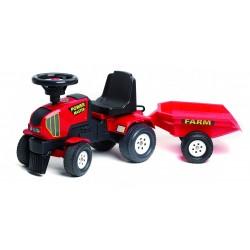 Falk - Trattore cavalcabile POWER MASTER rosso con rimorchio (1/3  anni)