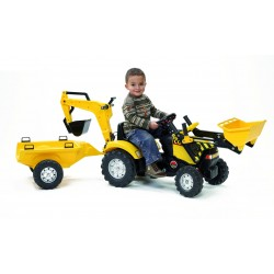 Falk - Trattore a pedali RANCH TRAC giallo con rimorchio (inclusi paletta e rastrello), ruspa e scavatrice  (2/5 anni)