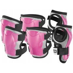 Stiga - Set di protezioni imbottite JUNIOR colore rosa  ginocchia, gomiti, polsi